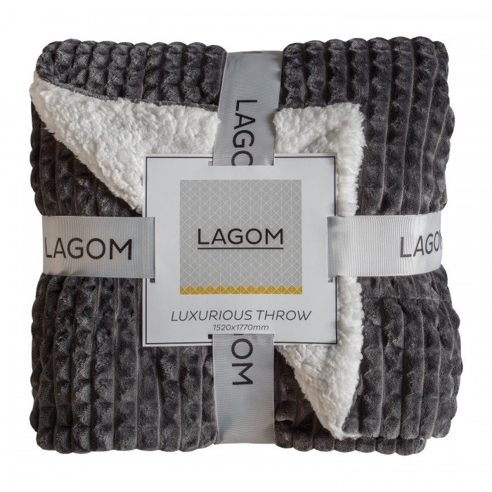 Cubic Embossed Sherpa Throw Charcoal