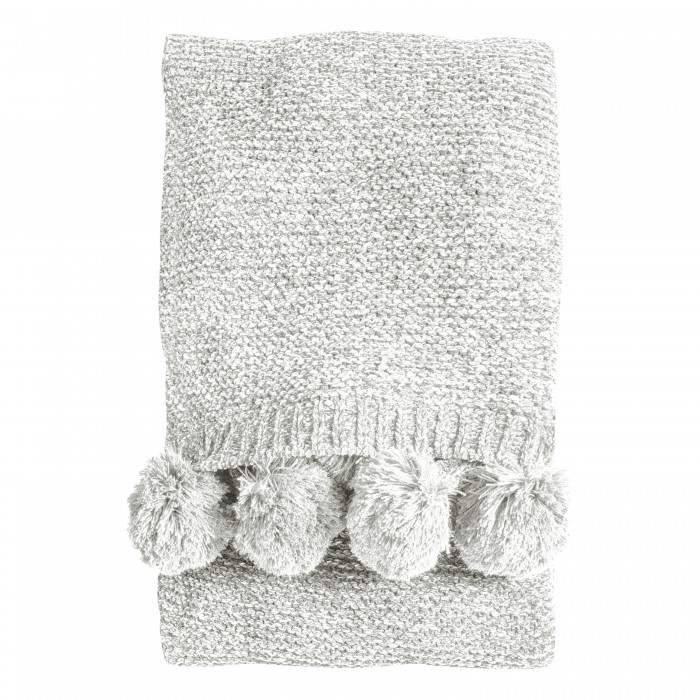 Knitted Pom Pom Chenille Throw Cream