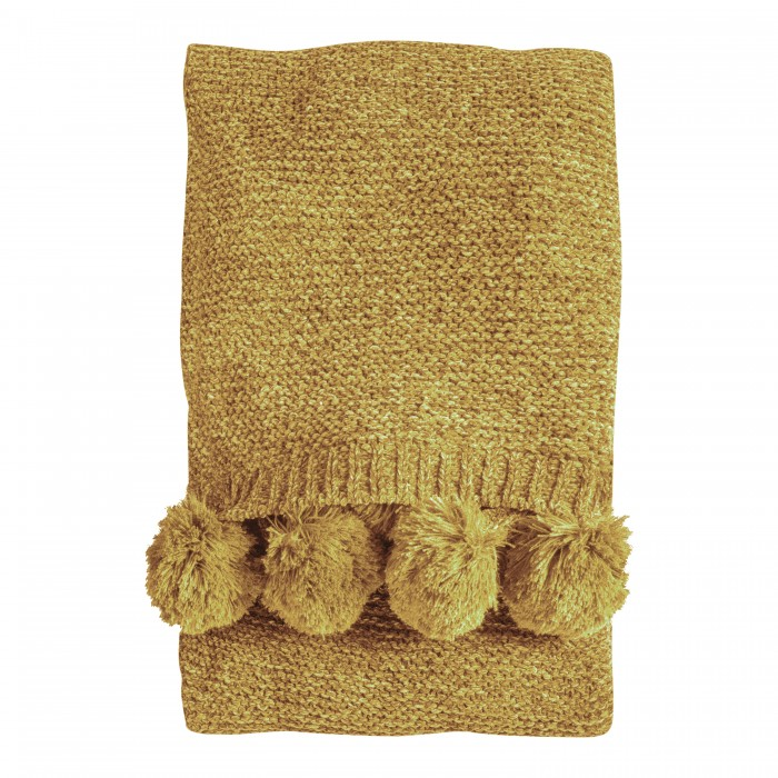 Knitted Pom Pom Chenille Throw Ochre