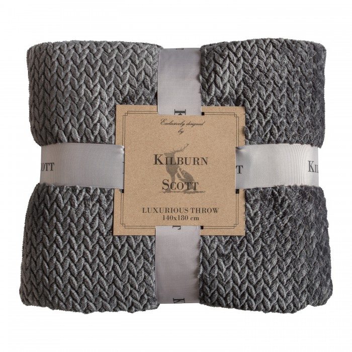 Chevron Flannel Fleece Throw Charcoal