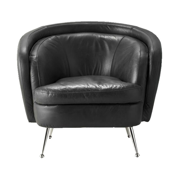 Tesoro Tub Chair Black Leather