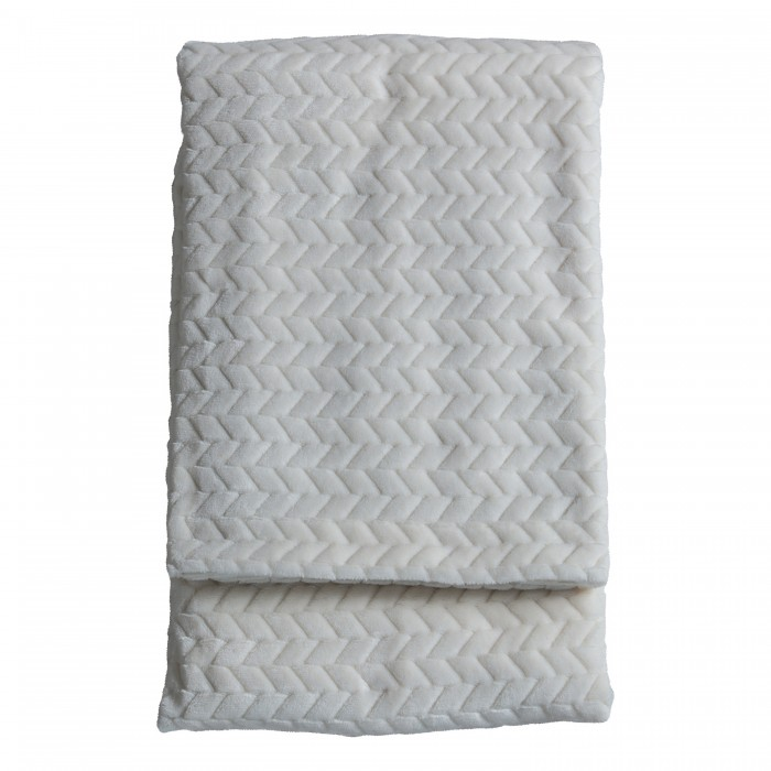 Embossed Chevron Throw Cream