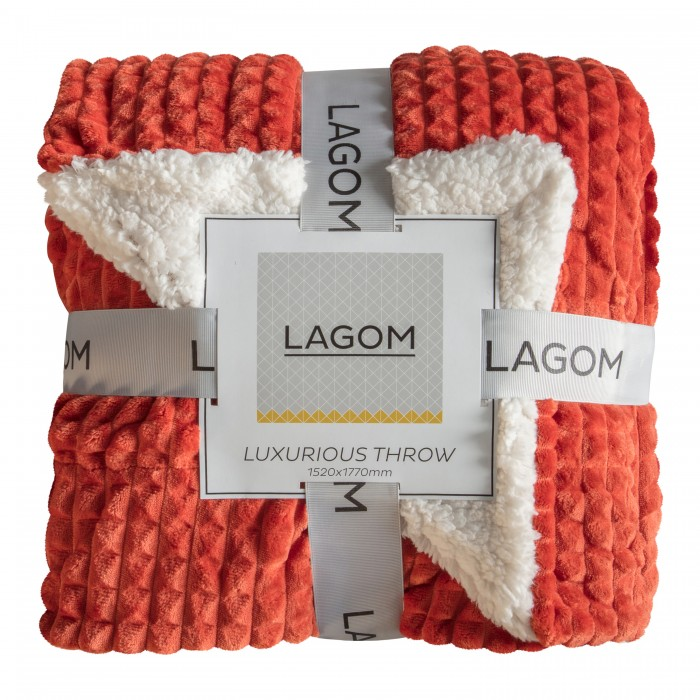 Cubic Embossed Sherpa Throw Burnt Orange