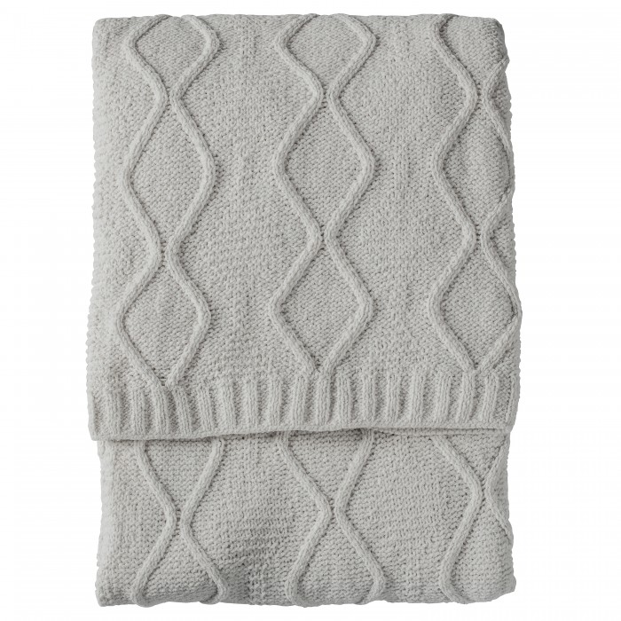 Chenille Knit Cable Throw Melange Grey