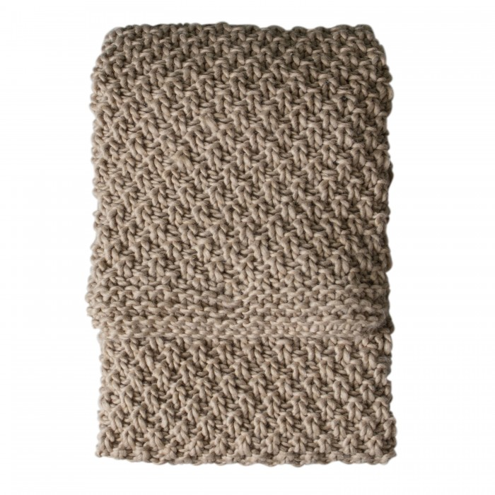 Moss Chunky Knitted Throw Oatmeal