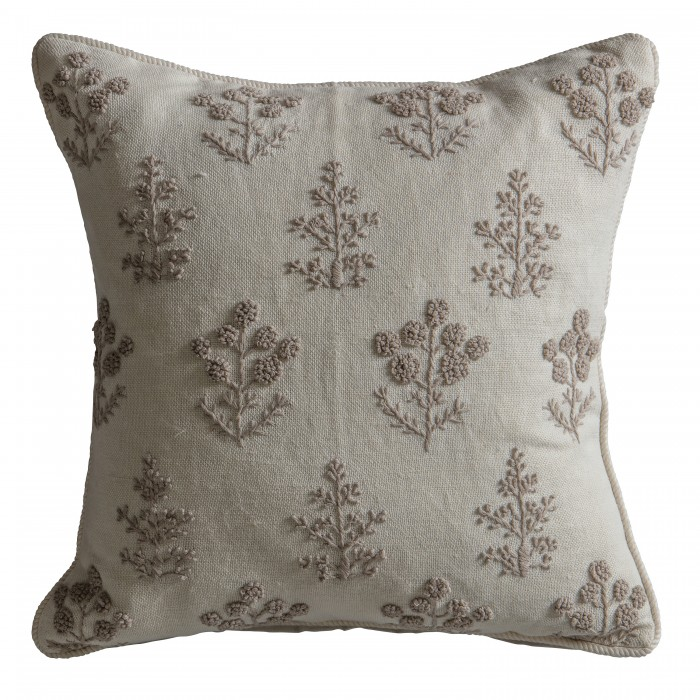 Floral Embroidered Cushion Natural