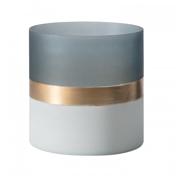 Buxted Votive Frosted White Grey Gold (2pk)