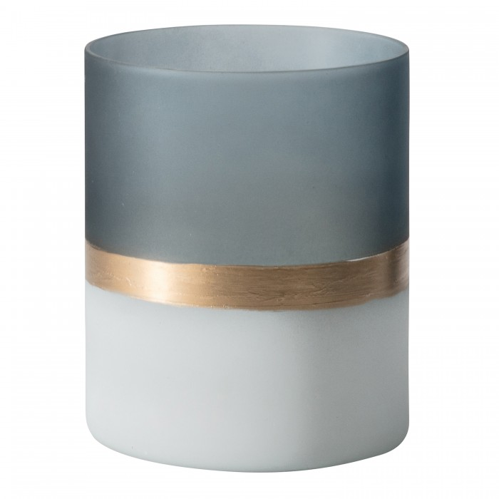 Buxted Votive Large Frosted White Grey Gold