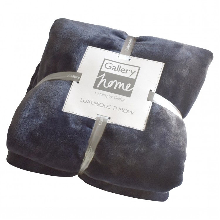Flannel Fleece Throw Gunmetal Blue