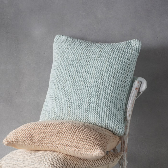 Opal Knitted Cushion Duck Egg