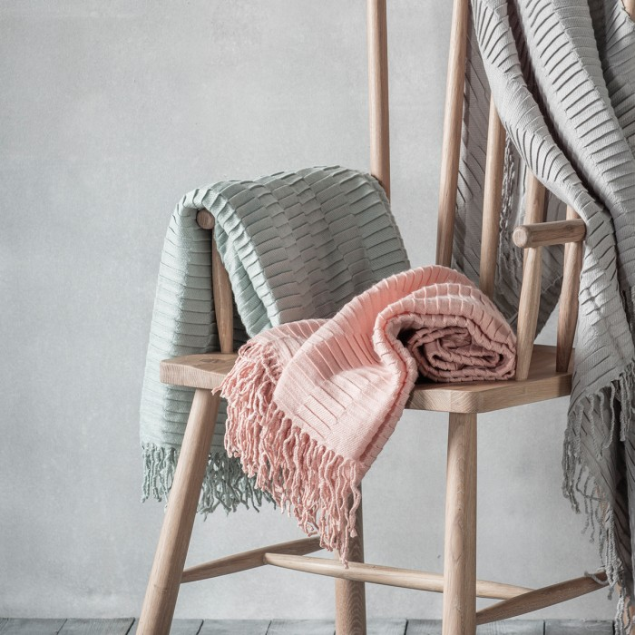 Linear Pleat Throw Blush Duck Egg