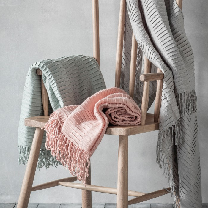 Linear Pleat Throw Blush