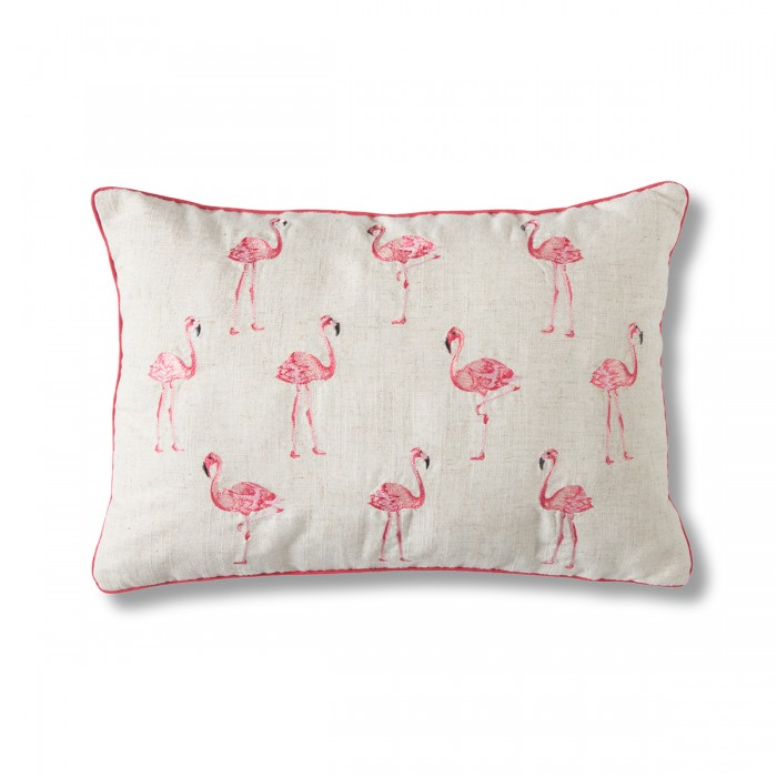 Embroidered Flamingo Cushion