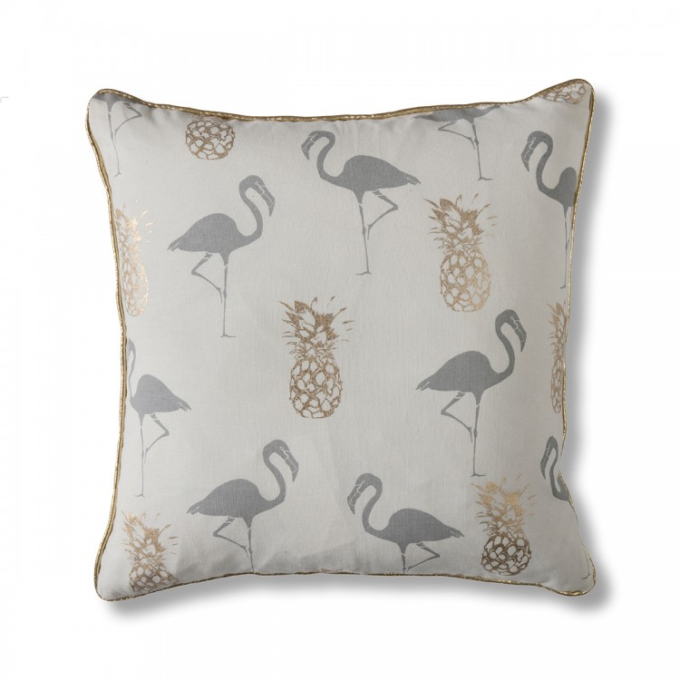 Flamingo & Pineapples Cushion Grey