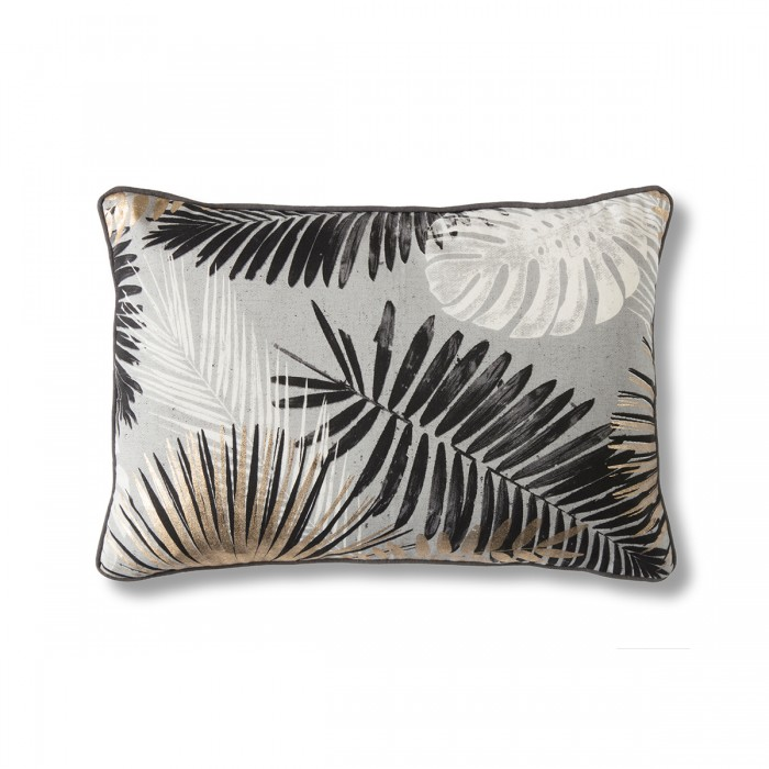Monochrome & Gold Palm Leaves Cushion