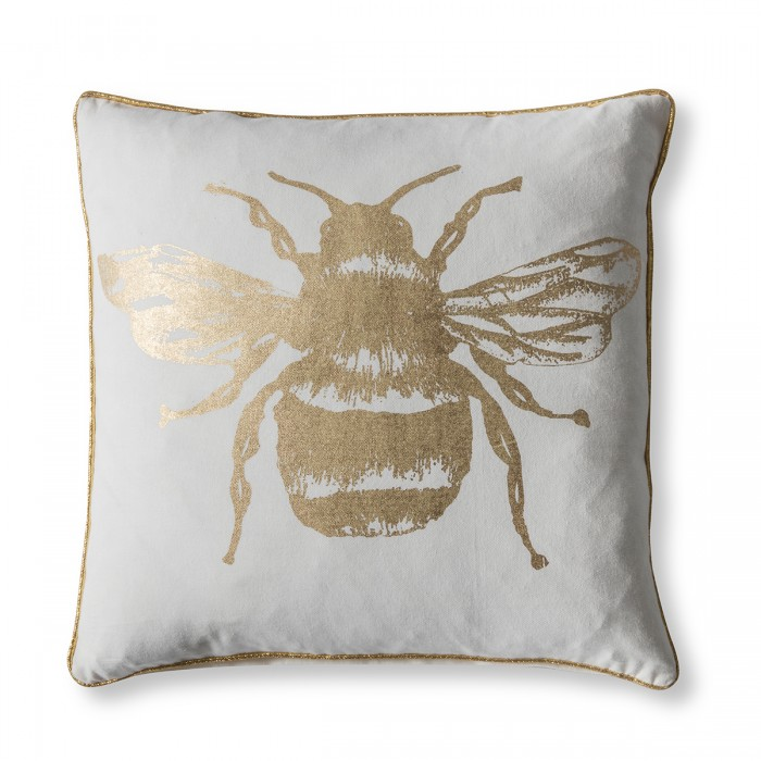 Metallic Bee Cushion Gold