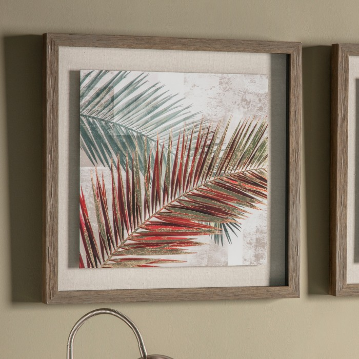 Red Palm Leaves I Framed Art
