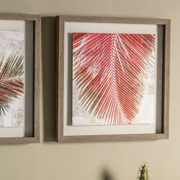 Red Palm Leaves II Framed Art