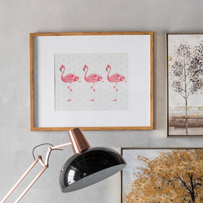 Flamingoes Crossing Framed Art