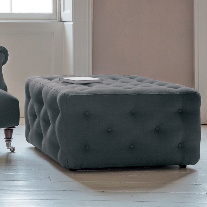 Hampton Ottoman in Field Steel Blue