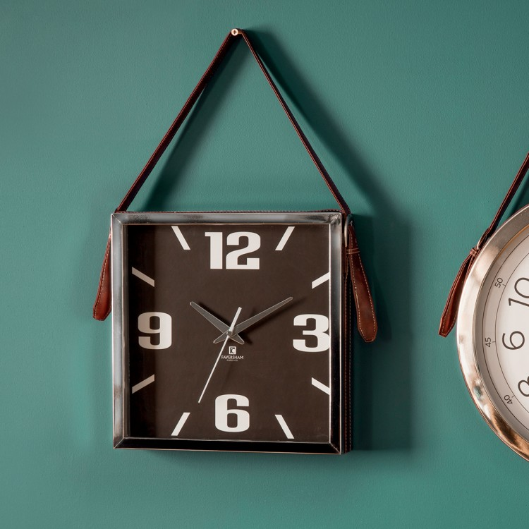 Seymour Clock with Faux Leather Strap