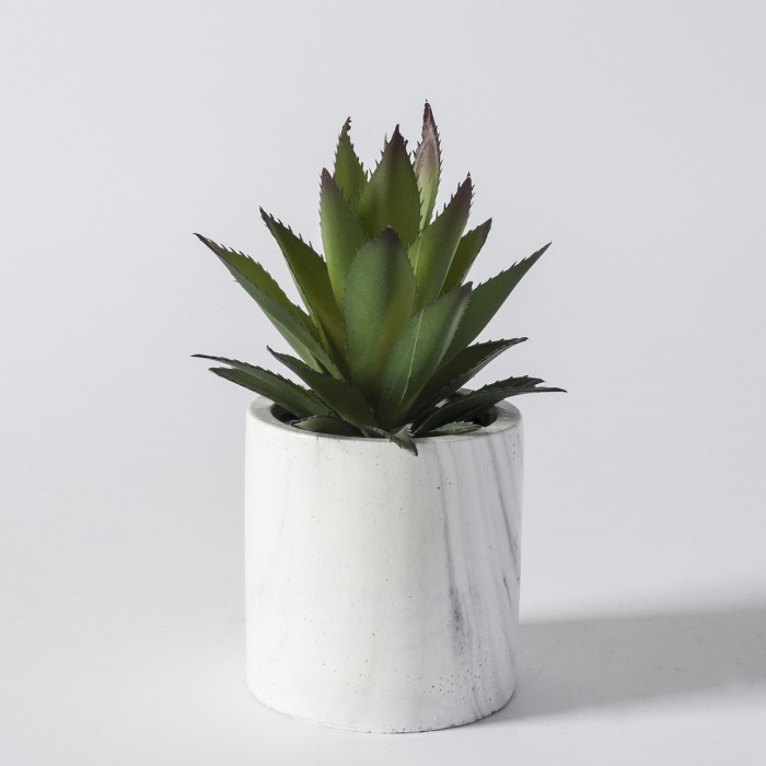 Faux Aloe in Marble Effect Container