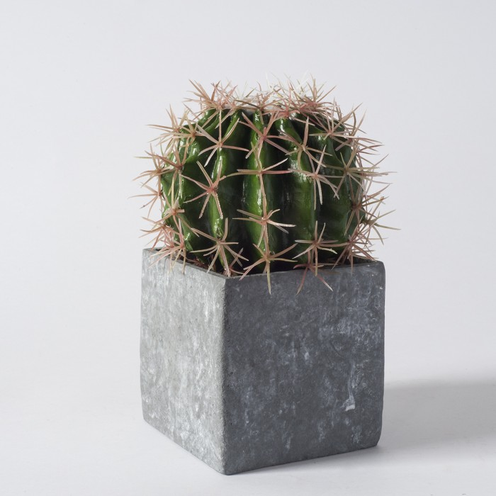 Faux Ball Cactus in Concrete Effect Cube