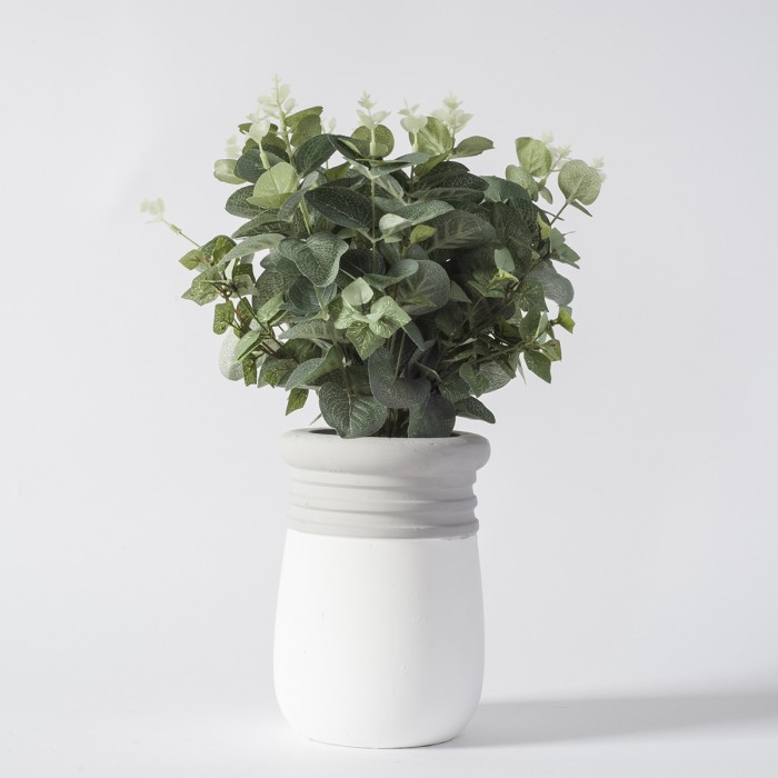 Faux Eucalyptus in White and Grey Pot