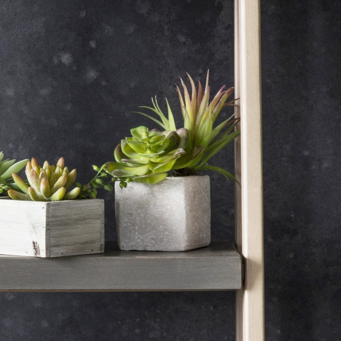 Faux Succulents in Square Stone Planter