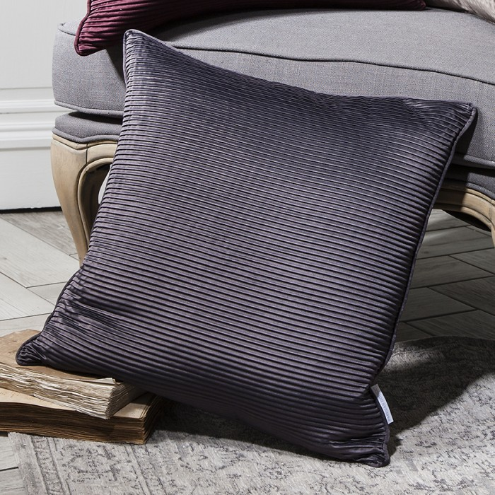 Cassini Pleated Cushion Charcoal