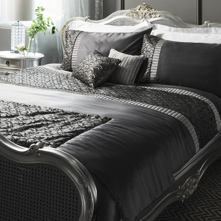 Deco Sequin Quilt Cover Set Charcoal King