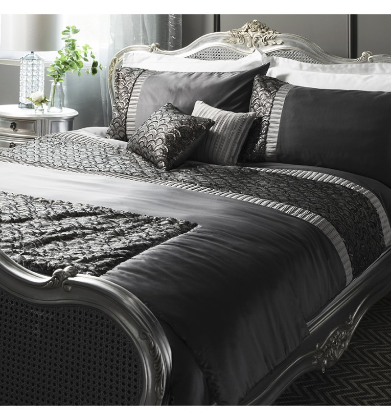 Deco Sequin Quilt Cover Set Charcoal Super King Gallery Direct