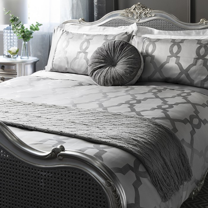 Jaquard Quilt Cover Set Grey Queen