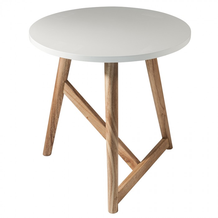 Hamar Round Side Table White