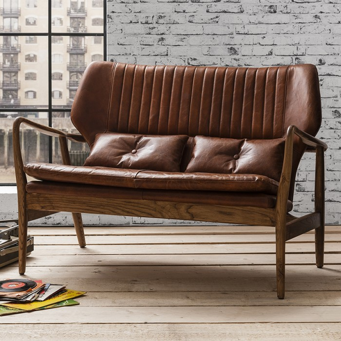 Viva 2 Seater Brown Leather