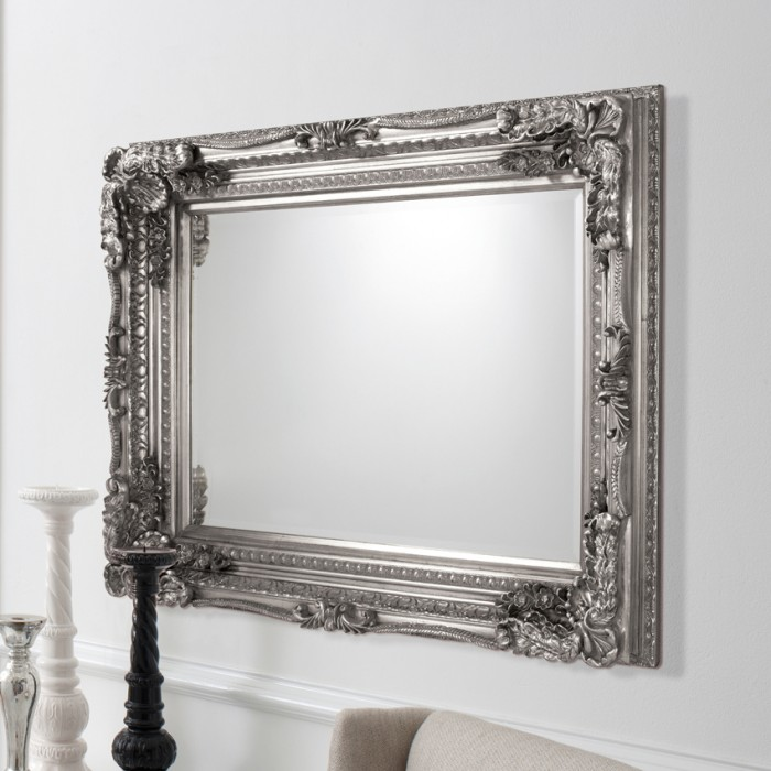 Carved Louis Mirror Silver