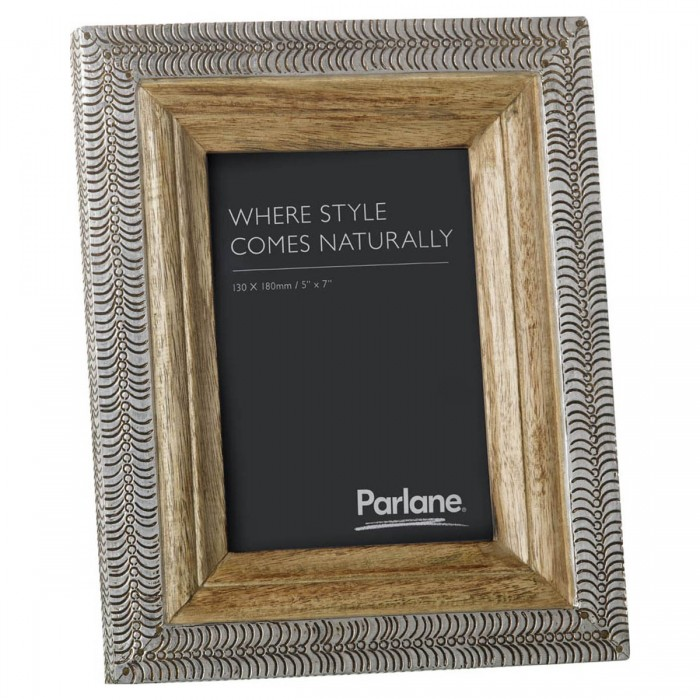 Muskan Photo Frame Silver & Natural Large