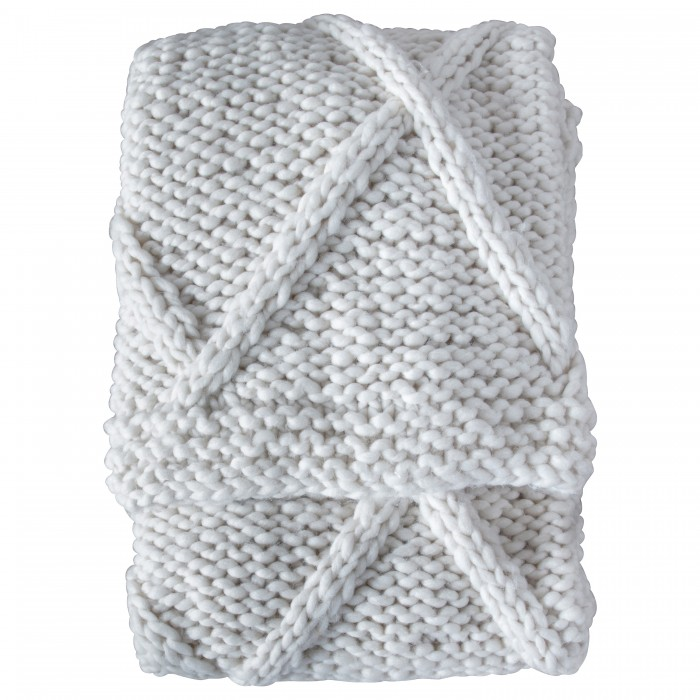 Cable Knit Diamond Throw Cream