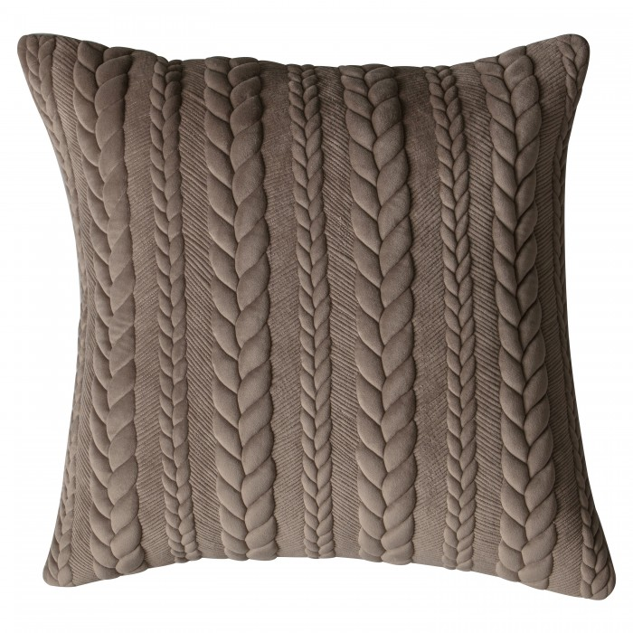 Chenille Embroidered Cushion Taupe