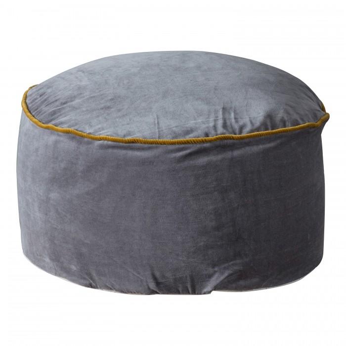 Arabella Velvet Pouffe Grey