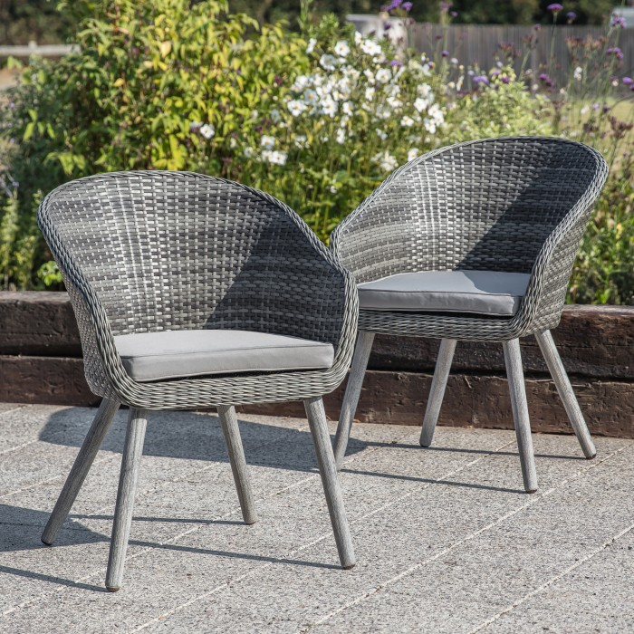 Geneva Outdoor Chair Washed Grey (2pk)